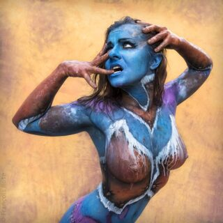 """Unpublished 2015 bodypainting - outdoor shooting. The rain began to fall and """"ruined"""" the paint, giving me the best pictures of the day.  #bodypainting #artoftheday #shootingoftheday #unpublished #bestmodel #steampunk #rain #unexpected #art #photohraphy #bodypaint #posing #wet #pic #blueskin #photo #collaboration"""